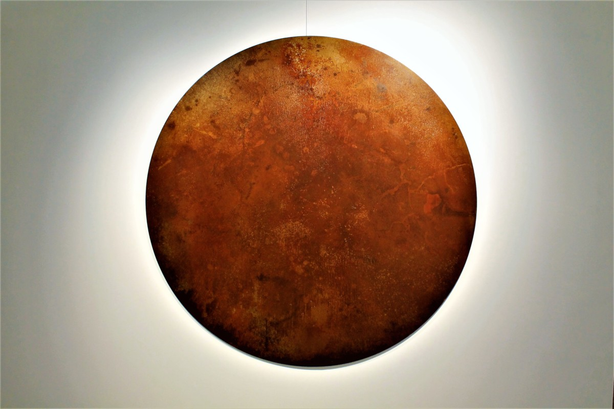 """ Mooneclips"", patinated steel with clear varnish, created by Kevin Oyen, designer and artisan metalworker"