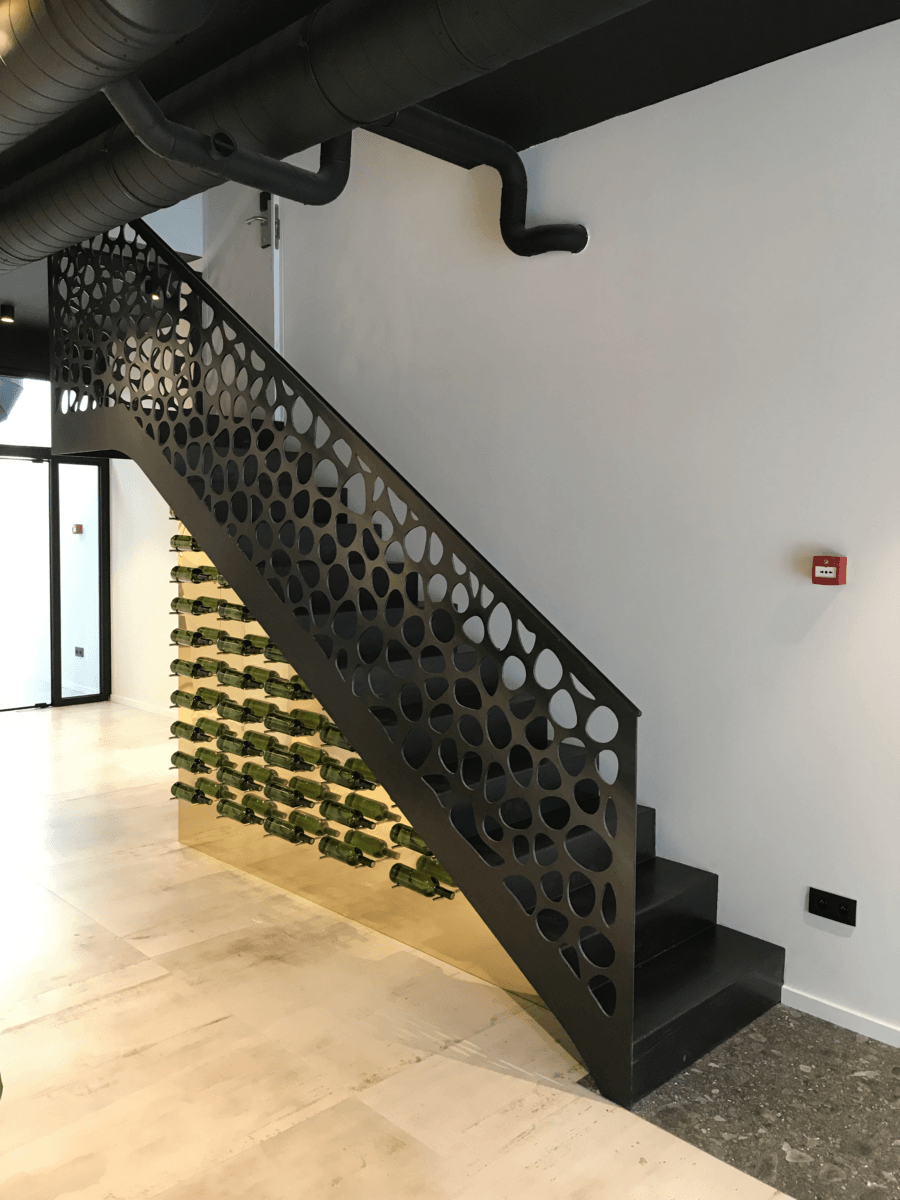 """ Staircase and winerack"", created by Kevin Oyen, designer and artisan metalworker"