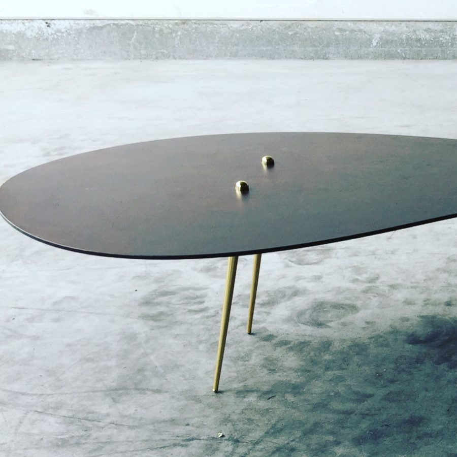 """In Time"", patinated steel table top with brass and bronze, created by Kevin Oyen, designer and artisan metalworker"