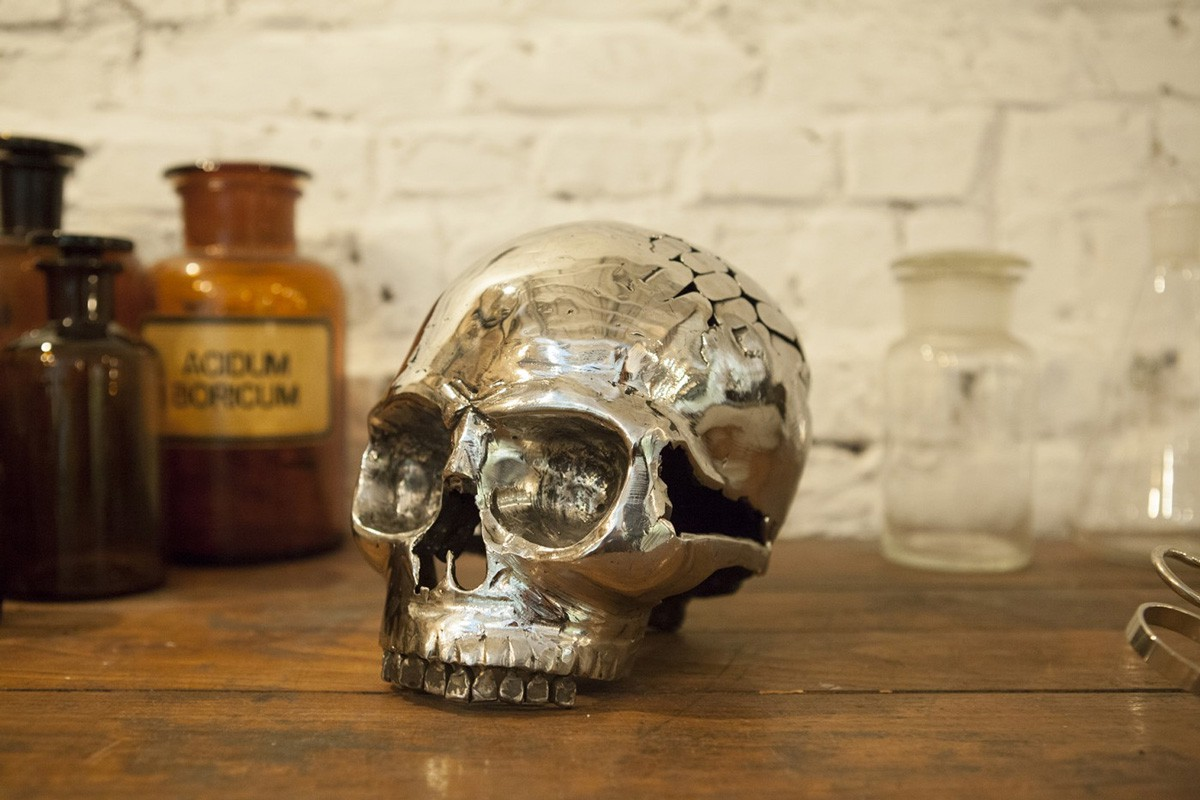 Skull, created by Kevin Oyen, designer and artisan metalworker